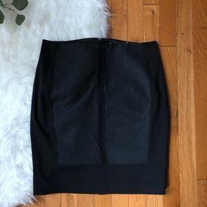 Tahari black textured mini pencil skirt w/ zipper